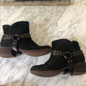 UGG suede black booties with buckles